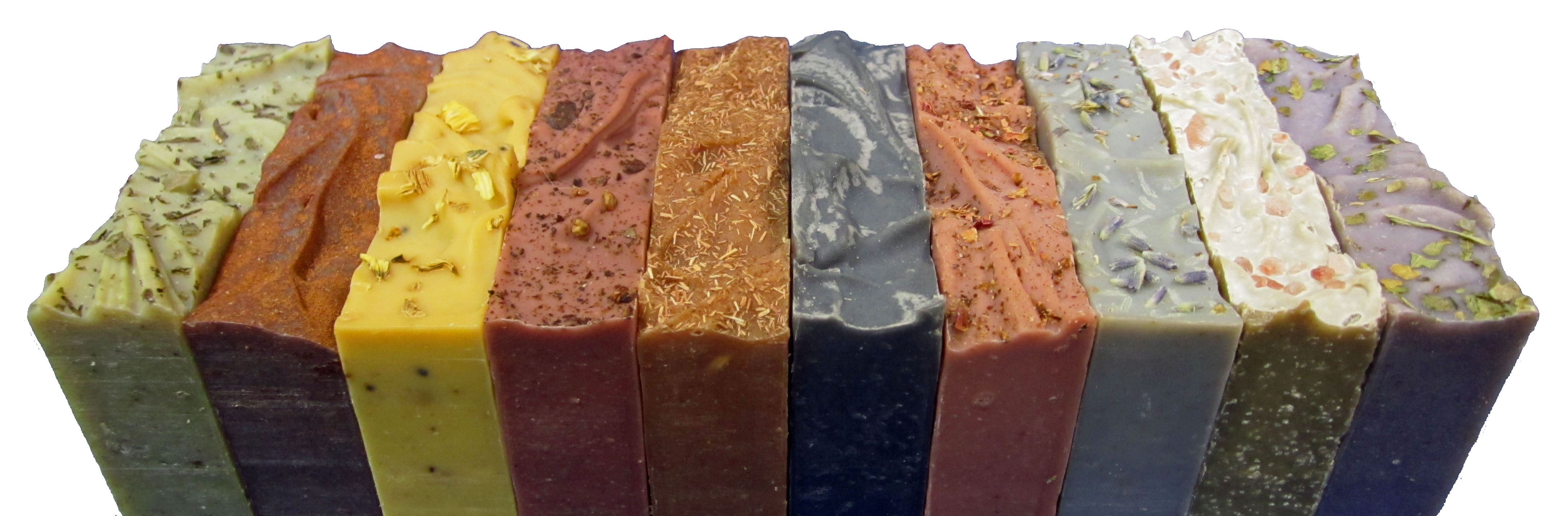 10 colorful handmade organic natural soaps