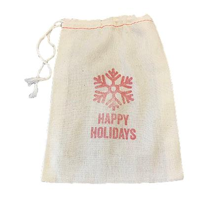 happy holidays drawstring gift bag