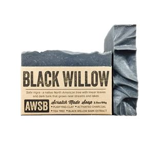 black willow handmade organic bar soap with charcoal, boxed