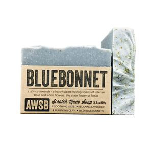 bluebonnet handmade organic bar soap with lavender, boxed