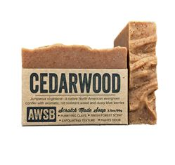 cedarwood handmade organic bar soap with red clay, boxed