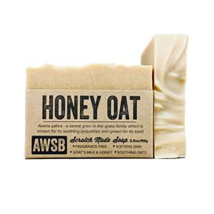 honey oat handmade fragrance free bar soap with goats milk, boxed
