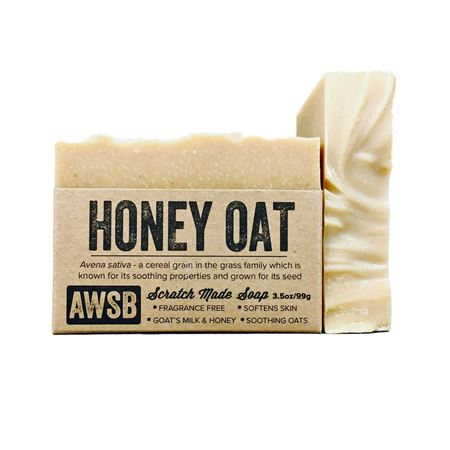 honey oat handmade fragrance free bar soap with goat's milk, boxed