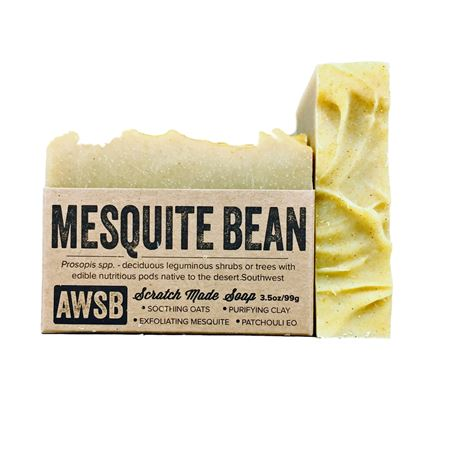 mesquite bean handmade organic bar soap with patchouli, boxed