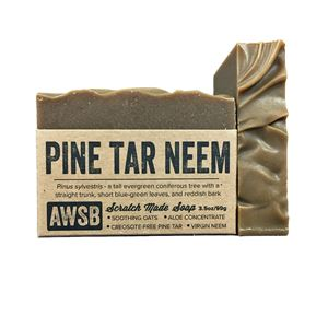 pine tar neem oil organic handmade bar soap, boxed