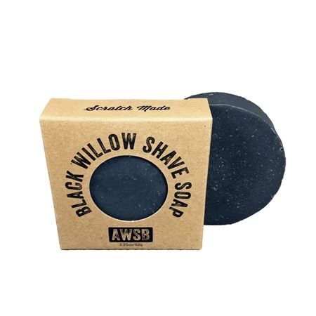 black willow natural organic shave bar soap for shaving, boxed