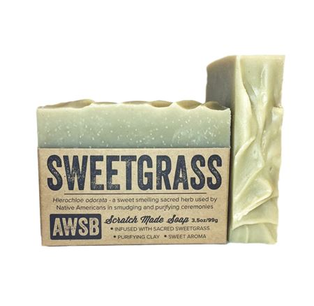 sweetgrass natural bar soap with bentonite clay, boxed